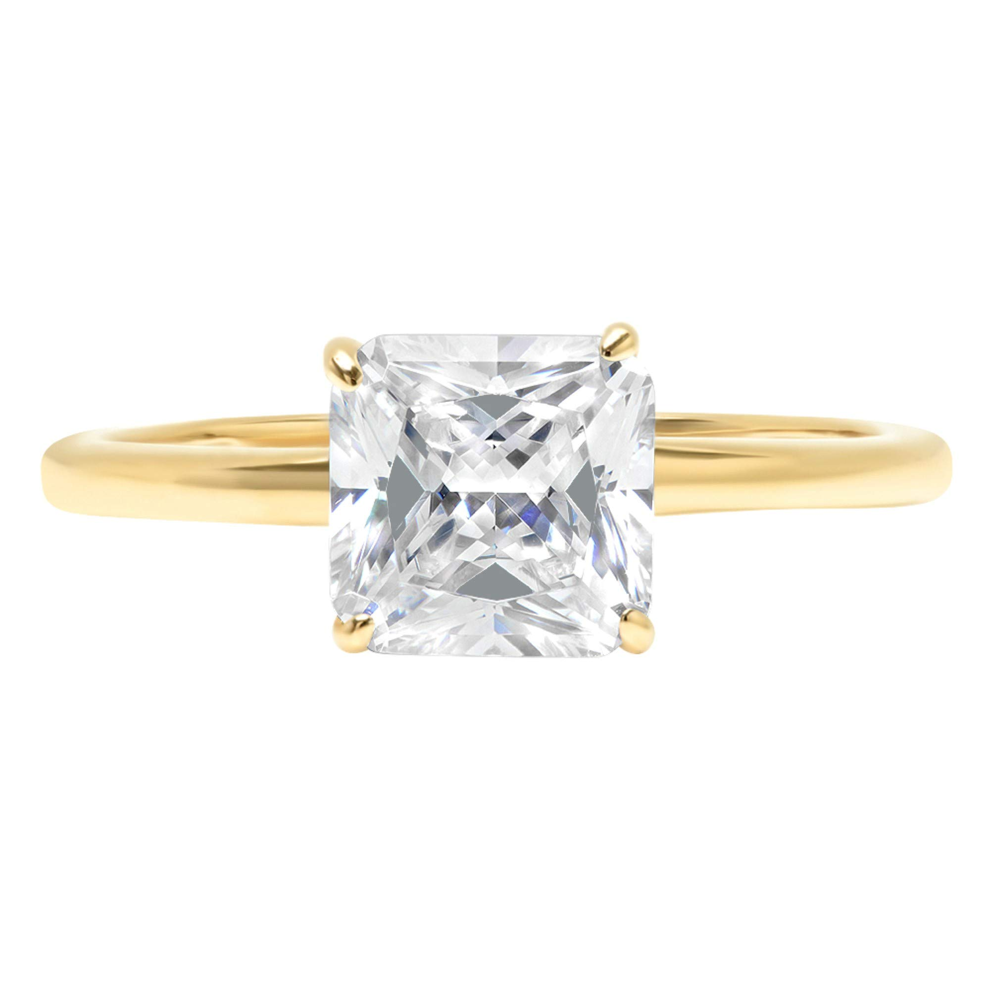 1.9ct Brilliant Asscher Cut Solitaire Highest Quality Lab Created White Sapphire Ideal VVS1 D 4-Prong Engagement Wedding Bridal Promise Anniversary Ring Solid Real 14k Yellow Gold for Women