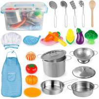D-FantiX Kitchen Pretend Play Toy Kitchen Accessories Kids Pots and Pans Playset, Utensils, Apron and Chef Hat, Cutting Vegetables Cooking Set for Toddlers Boys and Girls