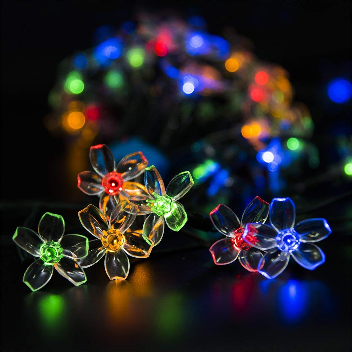GIGALUMI 2 Pack Solar Strings Lights, Solar Fairy Lights 23 Feet 50 LED Flower Lights, Garden Lights for Outdoor, Home, Lawn, Wedding, Patio, Party and Holiday Decorations- Multi Color