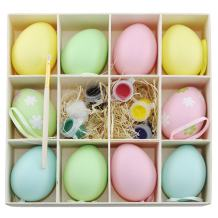 Colorful Blank Unpainted Easter Egg Kit Set of 12 Pieces Includes 8 Unpainted Eggs 2 Flower Eggs 1 Paints 1 Paint Brush To Paint Your Easter Eggs, Great for Easter Eggs Hunting and Easter Eggs Basket