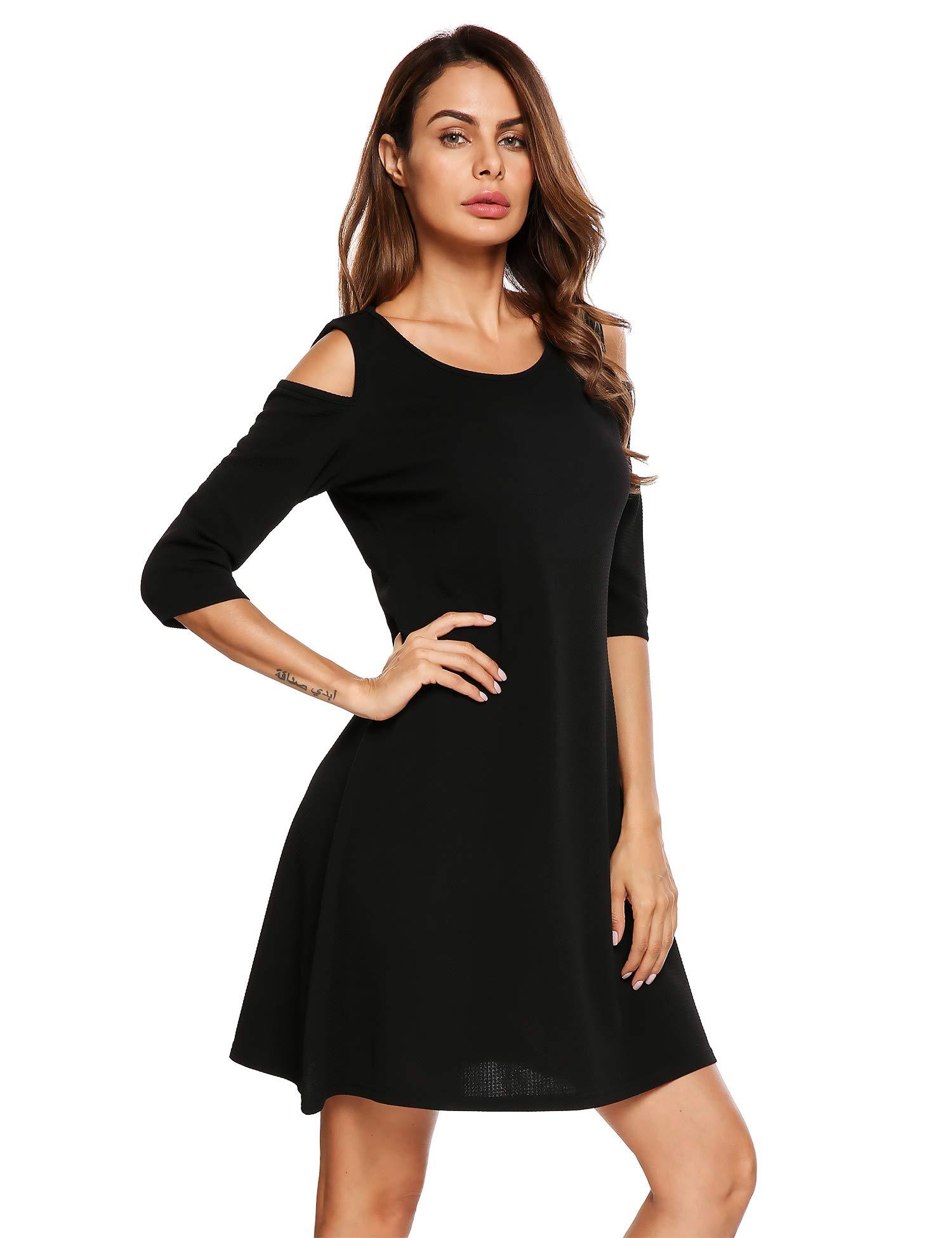Beyove Women Casual Cold Shoulder Tunic Top Swing T-Shirt Loose Dress 3/4 Sleeve Black