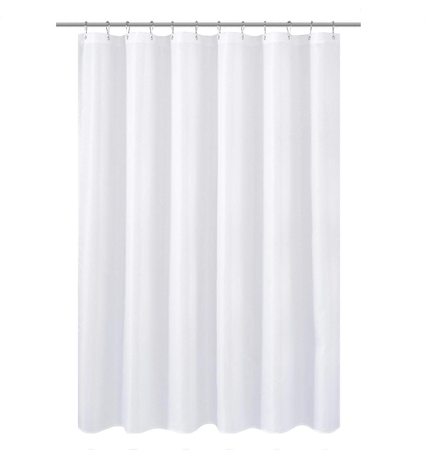 N&Y HOME Short Shower Curtain or Liner Fabric 66 inches Shorter Length, Hotel Quality, Washable, Water Repellent, Diamond Patterned White Bathroom Curtains with Grommets
