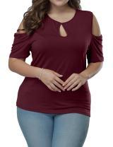 Allegrace Women's Plus Size Top Keyhole Front Short Sleeve Cold Shoulder T Shirt