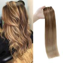 Full Shine 16 Inch Clip In Hair 7 Pcs 100 Gram Balayage Clip In Human Hair Extensions Full Head Clips On Remy Human Hair Ombre Highlighted Color 10 Fading To 16 With Color 16 Highlighted Extensions