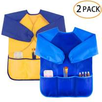 Zkptops 2 Pack Kids Art Smock Colorful Waterproof Children Art Aprons Artist Painting Aprons with Long Sleeve 3 Roomy Pockets for Age 3-8 Years,Yellow and Blue