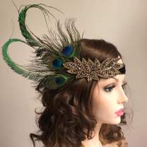 Asooll Gold Vintage 1920s Flapper Headband Roaring 20s Great Gatsby Headpiece with Peacock Feather 1920s Flapper Headband for Women and Girls