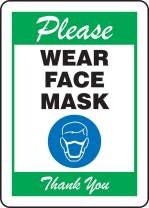 """Accuform""""Please WEAR FACE MASK"""" Sign, Green, Plastic, 14"""" x 10"""""""
