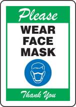 "Accuform""Please WEAR FACE MASK"" Sign, Green, Plastic, 14"" x 10"""