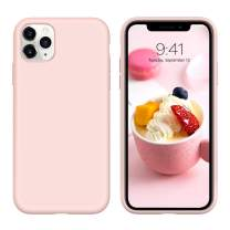 "iPhone 11 Pro Case, DUEDUE Liquid Silicone Soft Gel Rubber Slim Cover with Microfiber Cloth Lining Cushion Shockproof Full Body Protective Case for iPhone 11 Pro 5.8"" 2019,Pink Sand"