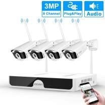 JOOAN 3MP 1296P Security Camera System wireless Outdoor,8-Channel NVR&4 wifi Cameras Motion Detection&Email Alarm Audio Record(No hard disk)