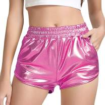 Women's Metallic Shiny Shorts Sparkly Hot Yoga Outfit Rave Booty Dance Pants for Disco Party Night Club Halloween Cosplay