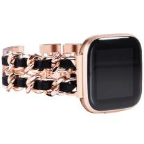 NewWays Compatible for Fitbit Versa 2 Bands for Women, Dressy Bracelet Compatible for Fitbit Versa/Fitbit Versa 2/ Fitbit Versa SE Smart Watch, Rose Gold Link with Black Leather