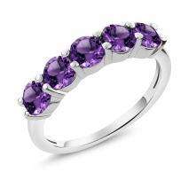 Gem Stone King Purple Amethyst 925 Sterling Silver Gemstone Birthstone Women's 5-Stone Ring (1.75 Ct Round Cut)