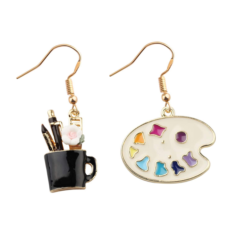 CENWA Colorful Artist Paint Palette and Paint Brush Pendant Drop Earrings Painter Artist Jewelry Gift for Art Teacher Art Student