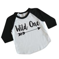 Wild One Boy First Birthday Shirt 1st Birthday Boy Outfit (6-12 Months) Black