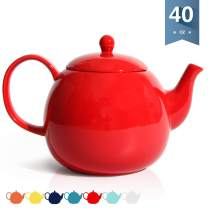Sweese 220.104 Porcelain Teapot, 40 Ounce Tea Pot - Large Enough for 5 Cups, Red