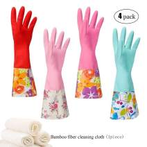 Household Rubber Cleaning Dishwashing Latex Gloves Non-slip Waterproof Reuseable(4-Pairs),Free get Cleaning Cloth (1-Pack)