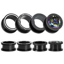 TBOSEN 8 PCS Black Fashion Ear Tunnels Plugs Gauges Stainless Steel Expander Stretcher Piercings