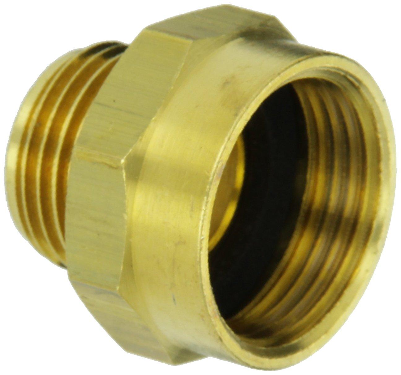 """Moon 357-1010751 Brass Fire Hose Adapter, Nipple, 1"""" NPSH Female x 3/4"""" GH Male"""