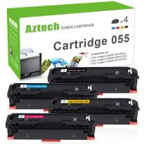 Aztech Compatible Toner Cartridge Replacement for Canon Cartridge 055 055H Color Imageclass MF743Cdw MF741Cdw MF745Cdw LBP664Cdw (Black Cyan Yellow Magenta, 4-Pack)