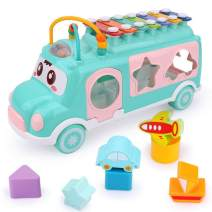 miYou Push and Pull Toy School Bus with Piano Xylophone, Shape Sorter and Bead Maze for Baby Toddler Kids Year 1 2 3(Blue)
