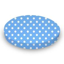 SheetWorld Round Crib Sheets - Primary Polka Dots Blue Woven - Made In USA