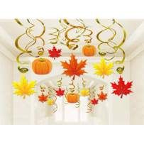 Autumn Thanksgiving Swirls Hanging Decorations - Pumpkin and Maple Leaf Fall Themed party Supplies,No DIY Required,36 Pack