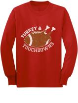 Turkey and Touchdowns Thanksgiving Funny Youth Kids Long Sleeve T-Shirt