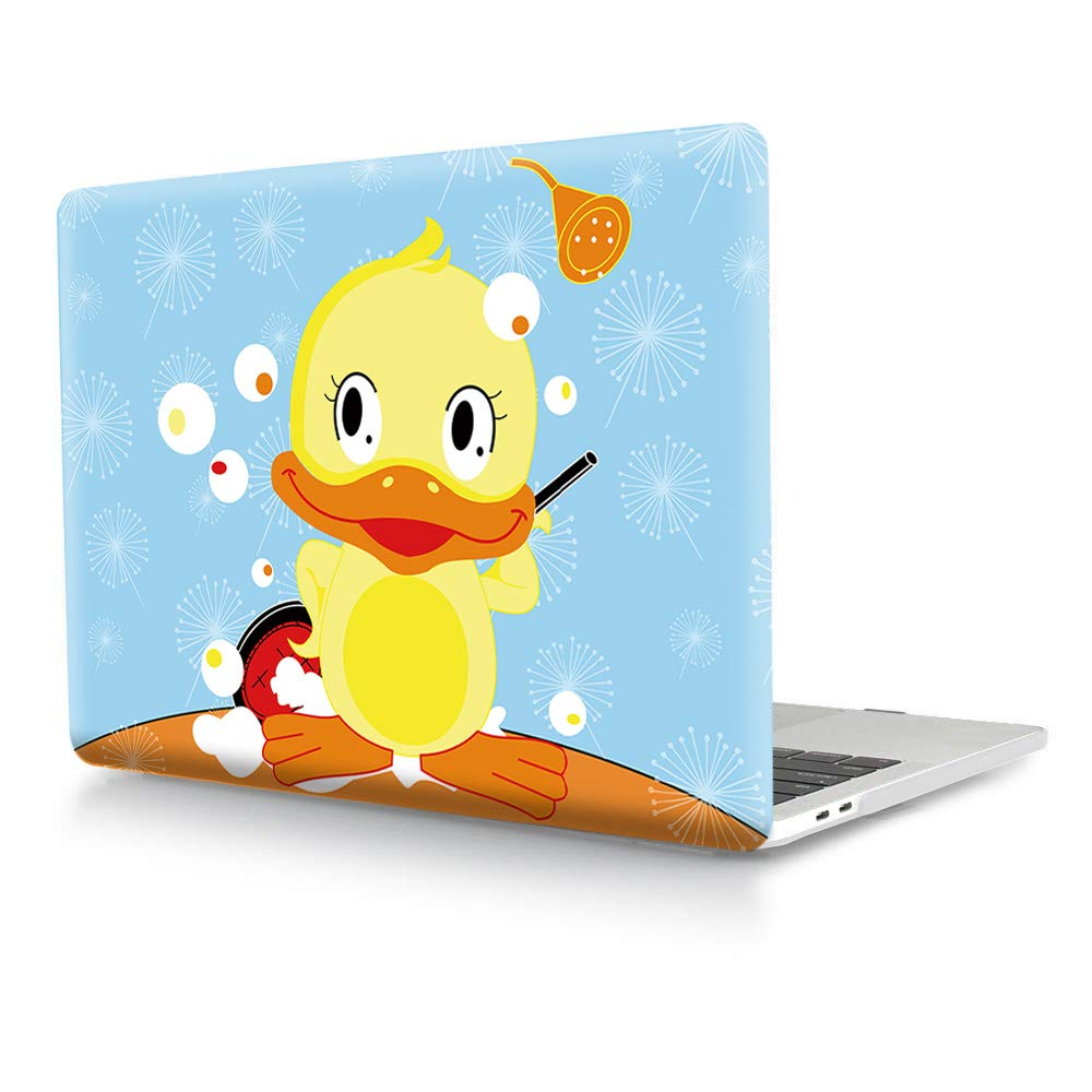 """HRH Cute Yellow Duck Design Laptop Body Shell Protective Hard Case for MacBook Newest Air 13"""" Inch with Retina Display fit Fingerprint Touch ID (Model A1932,2018 Release)"""