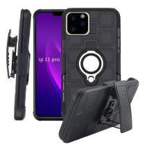 Lantier High Impact 3 Layer Hybrid Full Shockproof Armor Rugged Holster Protection Case with Kickstand Magnet 360 Degree Rotating Ring Belt Swivel Clip for iPhone 11 Pro 5.8 Inch (2019) Black