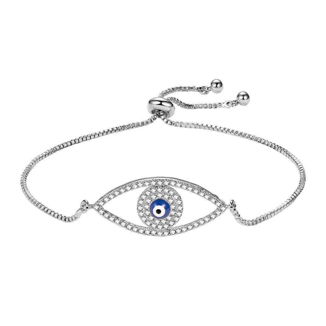 Suplight Star of David/Allah/Blue Evil Eye/Red Rose Flower Bracelet, 18K Gold/Platinum Plated Cubic Zirconia Adjustable Chain Bracelet for Women Girls, Delivered in a Gift Box