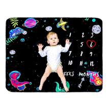 "INNObeta Baby Monthly Milestone Blanket | Flannel Fleece Plush Newborn Infant Photo Blanket | for Pictures Photography for Newborn Boys & Girls New Mom Gifts Dinosaur(Black, 39""x 47"")"