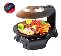 NEWTRY 3D Infrared Electric Griddles Barbecue Oven Commercial Home Kitchen BBQ LCD Touch Screen Grill Griller Temperature Timer Control for Indoor Outdoor Parties (220V Voltage, Black)