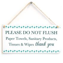 "Meijiafei Please DO NOT Flush Paper Towels, etc Thank You - Septic Tank Thank You Sign for Bathroom Or Toilet 10""x5"""