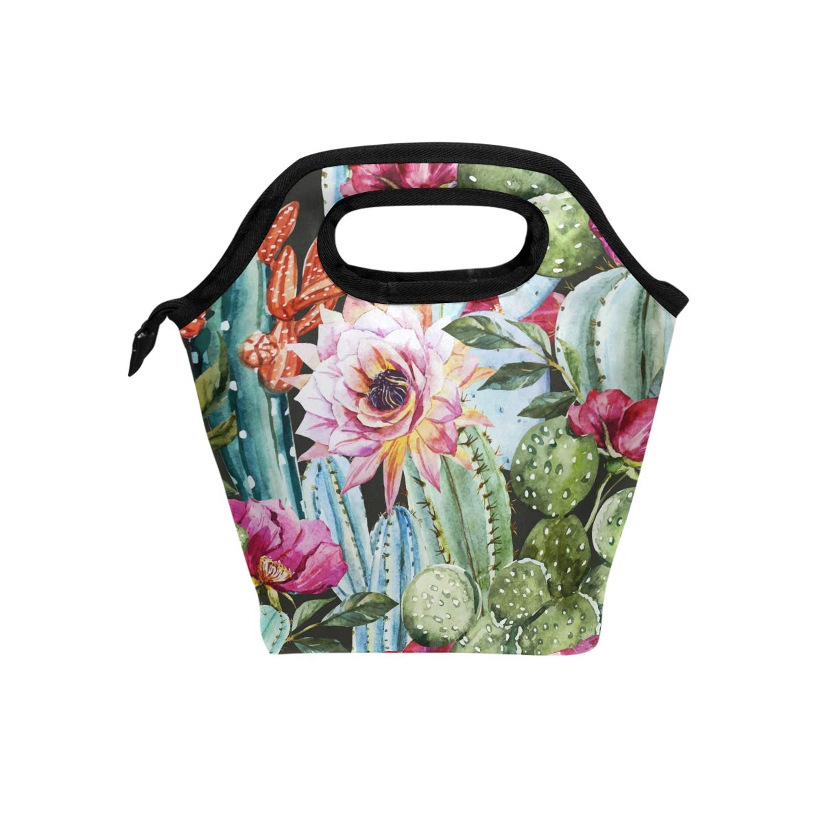 Naanle Floral Cactus Insulated Zipper Lunch Bag Cooler Tote Bag for Adult Teens Kids Girls Boys Men Women, Watercolor Cactus Lunch Boxes Lunchboxes Meal Prep Handbag for Outdoors School Office
