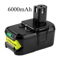 Eagglew 6000mAh P108 Replacement for Ryobi 18V Battery Lithium-ion Ryobi 18-Volt Oneplus RB18L50 RB18L40 RB18L25 P102 P103 P104 P105 P107 P108 P109 P122 Ryobi ONE+ Battery with LED Indicator