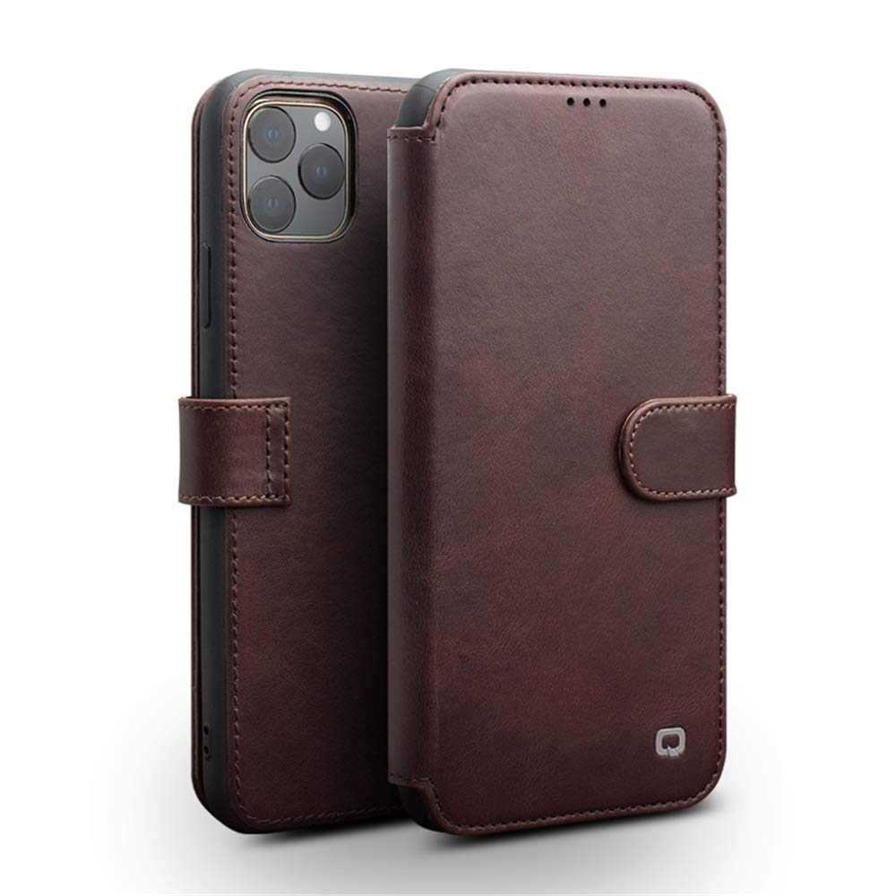 iPhone 11 Pro Wallet Case QIALINO Genuine Leather Flip f Protective Sleeve and Card Slot Holder Best Blocking Covers Support Wireless Charging for iPhone 11 Pro(Dark Brown,5.8inch)