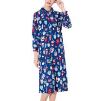 ENJOYNIGHT Women's Sleep Shirt Flannel Print Pajama Top Button-Front Nightshirt Sleepwear