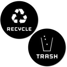 Recycle and Trash Sticker Vinyl Modern Logo (11in x 11in 1 ea.) Symbol to Organize Trash cans or Garbage containers and Walls - Large - Black Matte