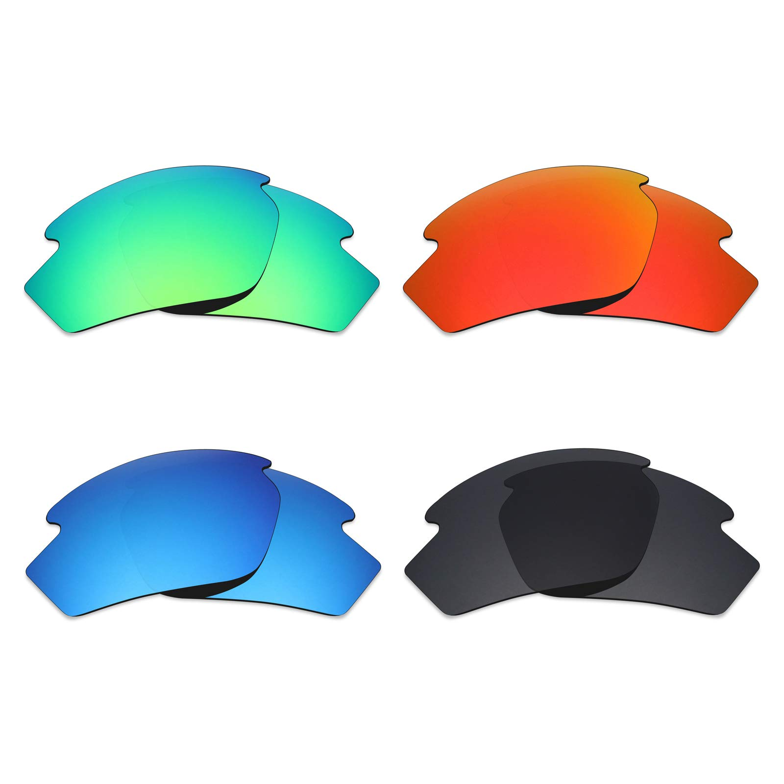 Mryok 4 Pair Polarized Replacement Lenses for Rudy Project Rydon Sunglass - Stealth Black/Fire Red/Ice Blue/Emerald Green
