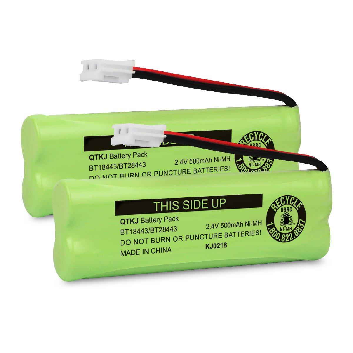 QTKJ Cordless Phone Battery for VTech BT18443 BT28443 LS-6115 LS-6117 LS-6125 LS6126 LS6225 LS6205 LS6217 LS-6205 LS-6215 89133700 Cordless Phone Handsets (2-Pack)