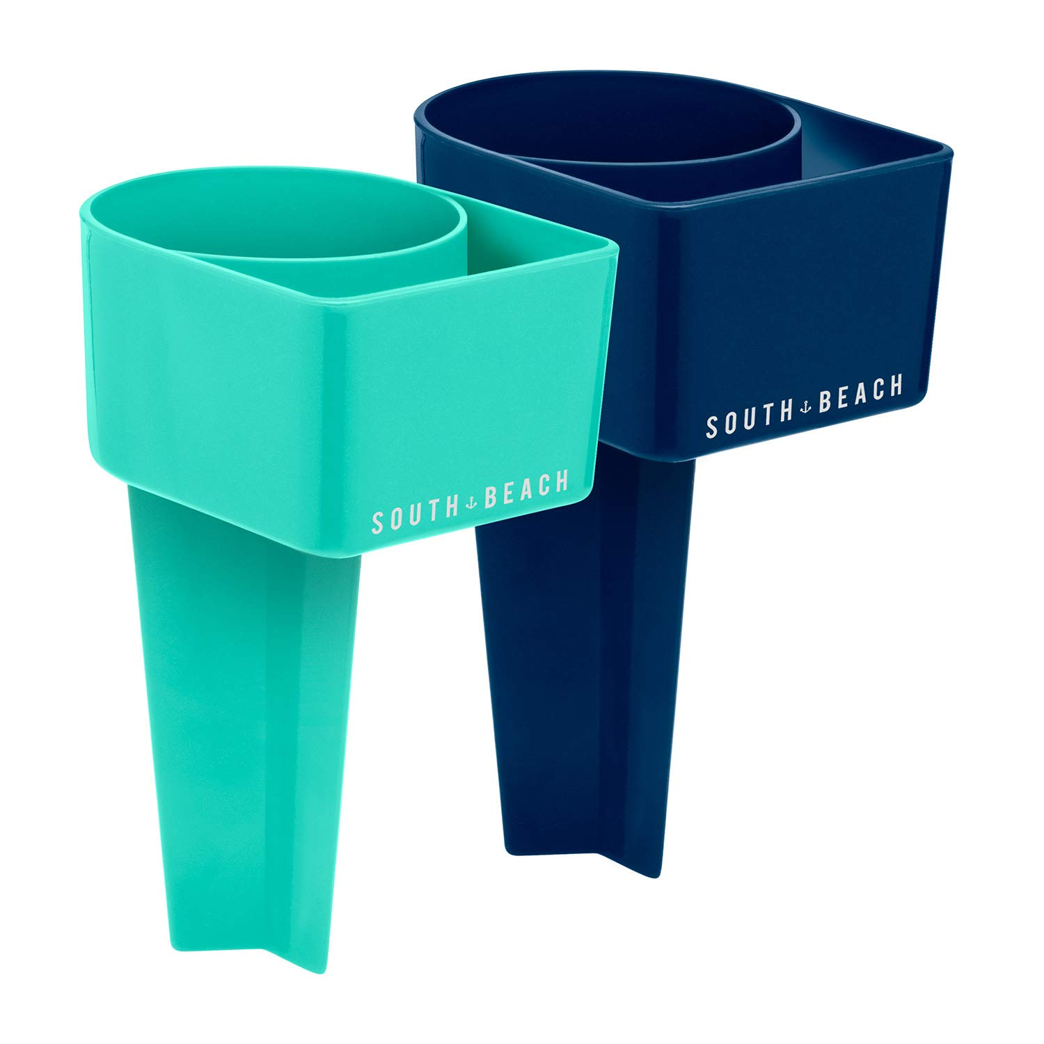 SOUTH BEACH Stick in Sand Drink Holders - Set of 2 - Perfect for The Beach - Includes Slot for Your Phone (Teal/Navy)