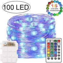 100 LED String Lights Fairy Lights Multi Color Changing Battery Powered Starry Lights Remote Timer 33 Ft 4 Modes Decor Copper Wire Twinkle String Lights Bedroom Party Xmas Home(16 Colors)