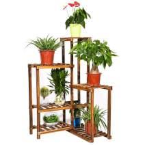 Plant Corner Stand 6 Tier Wood Shelf Indoor Outdoor Garden Patio Displaying Shelves Rack for Flowers Succulents Planter Pots