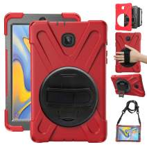 "Gzerma for Samsung Galaxy Tab A 8.0 SM-T387 Case 2018 Kids Proof with Kickstand and Strap, Rugged Hard PC + Silicone Cover + Handle + Shoulder Holder for Samsung Tab A 8.0 T387V Verizon 8"" Tablet, Red"