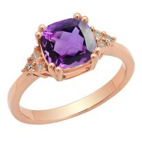 Dazzlingrock Collection 10K 8 MM Cushion Gemstone & Round White Diamond Ladies Bridal Engagement Ring, Rose Gold
