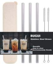 """Reusable Stainless Steel Extra Wide Smoothie Straws with Travel Case, Set of 3, 10.5"""" Long, 0.48"""" Diameter, Perfect for Drinking Boba & Bubble Tea, Milkshake, Jumbo Drinks. (3 Straws 