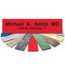 LHS My Business | Engraved Desk Name Plate Personalized Red Plastic Office Sign Black Letters | Desk Decor 2x12 - B14