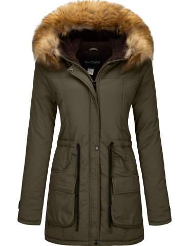 YXP Womens Winter Thicken Military Parka Jacket Warm Fleece Cotton Coat with Fur Hood