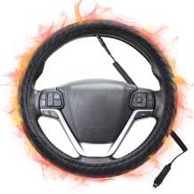 SEG Direct Heated Steering Wheel Cover Large-Size for F150 F250 F350 Ram 4Runner Tacoma Tundra Range Roverwith 15.5inches-16inches Outer Diameter, 12V Quick Heating Black Velour with Coiled Cord